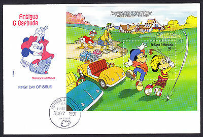 1991 Antigua Barbuda Mickeys Golf Club stamp sheet FDC Walt Disney 1st Day Cover