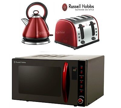 Russell Hobbs Microwave Kettle and Toaster Black Microwave Red Kettle & Toaster