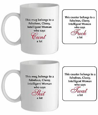 Intelligent Classy woman mug/coaster swear funny rude offensive novelty gift
