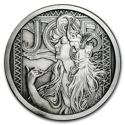 Alphonse Mucha Collection - JOB 5 oz .999 Silver Antiqued Finish Round USA Coin