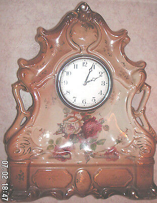"Porcelain Case Gilded Flowers Victorian Timepiece Mantle Clock GWO 14""H 11""W 4""D"