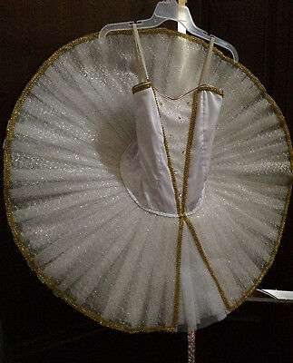 *Professional* Classical White Gold Platter Adult Tutu* Ballet Costume Attached