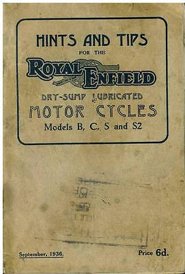 Royal Enfield Dry-Sump Lubricated Models B, C, S & S2 Hints & Tips Manual