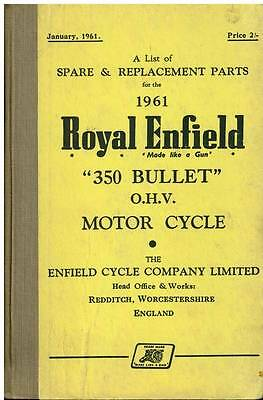 ROYAL ENFIELD MOTORCYCLE 350 BULLET ohv SPARE PARTS MANUAL - 1961