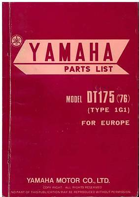Yamaha Motorcycle Model Dt175-1G1 Spare Parts Manual - 1976