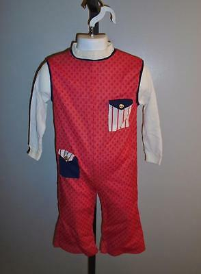 CHILD'S VTG 1970s 1 PC JUMPSUIT RED & WHITE LONG SLEEVES POCKETS SZ 3 NOS