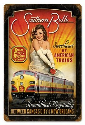 "12"" X 18"" - Southern Belle Pin-Up - Kansas City Southern - 24 Gauge Metal Sign"
