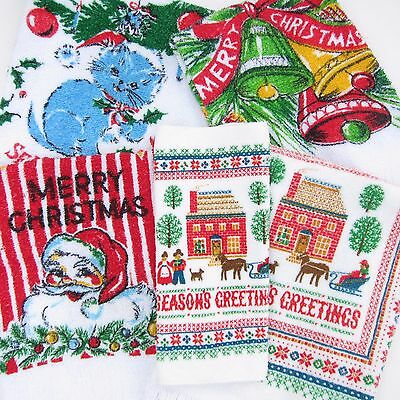 Vintage Christmas Towels 5 Printed Hand Towels Santa Cat Mid Century Terry Cloth