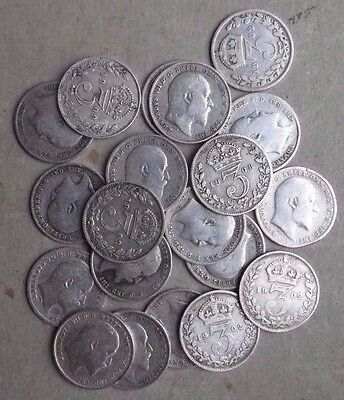 20 X Silver Threepence Coins All From Reign Of Edward Vii. Job Lot