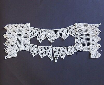 Antique Lace Collar Crocheted Bodice Sleeves Yoke Vintage Dressmaking