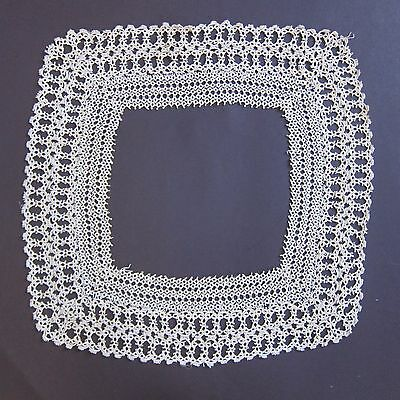 Antique Vintage Lace Collar Tatted Square Off White Dressmaking Cotton Handmade