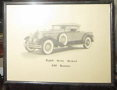 Rare `1930s advertising print of  the 1931 Packard 840 Roadster