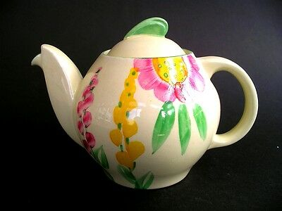 Hand Painted Colourway on Susie Cooper Teapot Kestrel Shape Earthernware