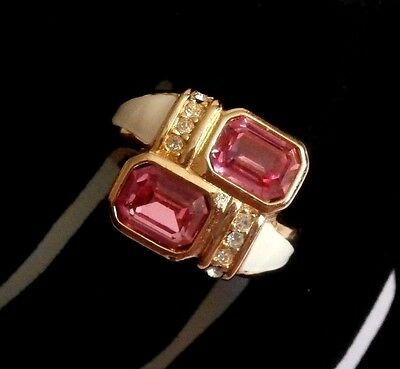 Signed Christian Dior Gold Plated Ring set with Rose Crystals - Size Adjustable