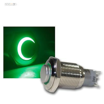 Stainless steel Pressure button LED lighted green, Switch, Bell button,