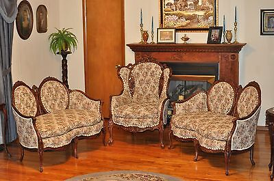 Restored Hand-Carved Highback Antique Chair and 2 Matching Loveseats