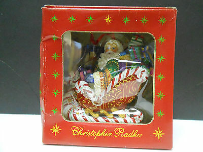 CHRISTOPHER RADKO CHRISTMAS ORNAMENT - CANDY RIDE SANTA II  Sleigh