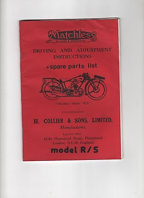 Matchless Model R/s Spare Parts List Driving And Adjustment Instructions