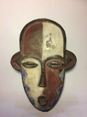 Authentic African Art Hands Carved Wooden Mask / Statue