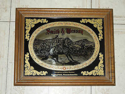 Vintage Smith And Wesson Bar Mirror Barware Framed Cowboy Mirror