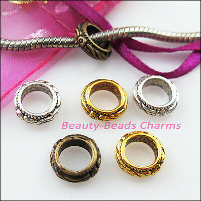 10 New Charms Round Spacer Beads 11mm Tibetan Silver Gold Bronze Tone