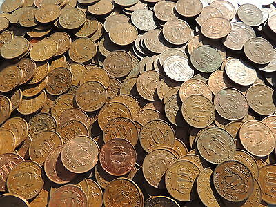 Bulk Lot Of 40 Old George Vi British Ship Half Penny Coins (1937 -1951)