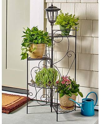 4' Metal Staircase Plant Stand 4 Levels Solar Light Yard Garden Porch Lawn Decor