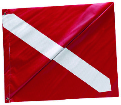 "Diver-Down Boat Flag, Red & White Vinyl Dive Flag with Stiffner Grommets 20""x24"