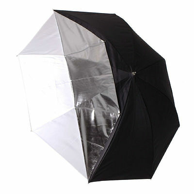 2x 40in White Satin Umbrella with Reflective Silver Backing and Removable Black