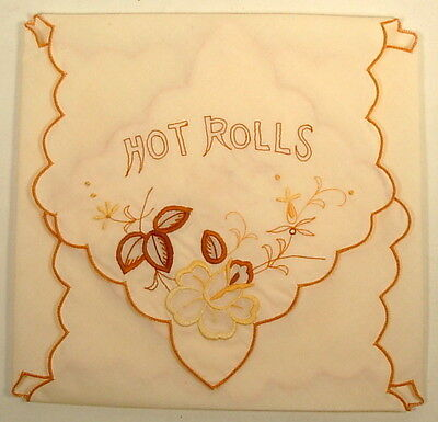 Hot Rolls Cloth Bun Warmer Ivory Brown Yellow Gold Flowers