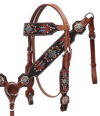 Showman Navajo Embroidered Headstall and Breast Collar Set! TURQUOISE STONES!