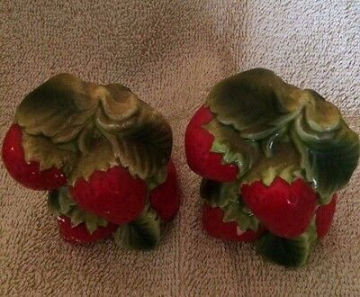 Vintage Holt Howard Strawberry Salt And Pepper Shakers~~Pretty