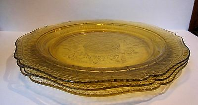"""Set of 3 Federal Glass Patrician Depression Era 11"""" Dinner Plates ~ Yellow Amber"""