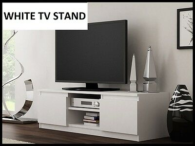 NEW ! WHITE TV Cabinet TV Unit RTV Entertainment Stand 120cm Modern DISPATCH 24H