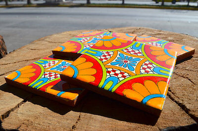 "60 Mexican Talavera Tiles. Hand made-Hand painted 4 ""X 4"""
