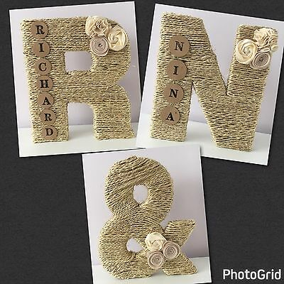 Large Wooden & Twine Letter~Rustic/shabby/country~Wedding/engagement/shower Gift
