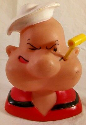 Vintage Popeye Plastic Piggy Bank King Features Syndicate/1986/W/Pipe/Free Ship