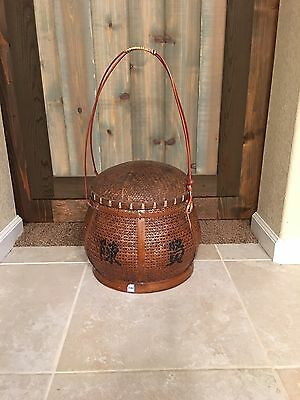 Antique Chinese Woven Basket with Long Handles