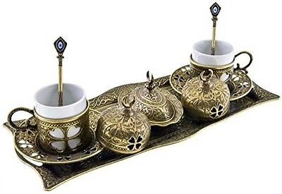 Premium Turkish Greek Arabic Coffee Espresso Serving Set For 2,Cups Saucers