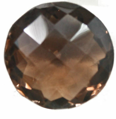 Magnificent 36.62 Carat Round Checkerboard Cut Smokey Quartz