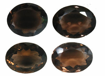 Stunning 130.89 Carat. Set of 4 Oval Cut Smokey Quartz Gemstones