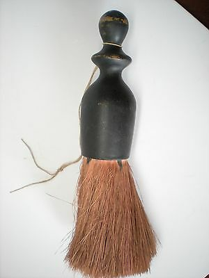 """Vintage Brush Clothes Whisk Crumb Barber Wood Handle 8"""" H"""