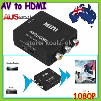 Composite AV CVBS 3RCA to HDMI Video Converter Adapter 1080p Up Scaler AU KW