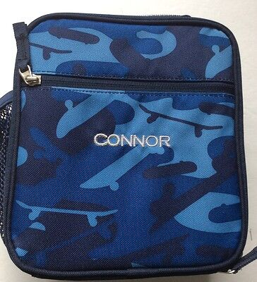New Pottery Barn Kids Monogrammed CONNOR Blue Camo Lunch  Box Tote PBT NWOT