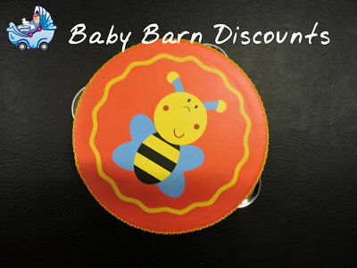 NEW Wooden Bumblebee Orange Small Tambourine 10.5 cm from Baby Barn Discounts