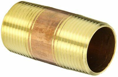 "Anderson Metals 38300 Lead Free Red Brass Pipe Fitting, Nipple, 1"" x 1"" NPT Male"