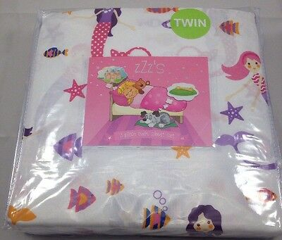 Mermaid Twin size Sheet Set 3 PC fitted flat sheets pillowcase NEW mermaids girl