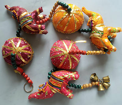 Ethnic Indian 70 cm Long Hanging 3 Elephant Mobile Wind Chime With Bell umbrella