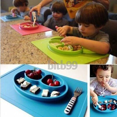 Baby Toddler One-Piece Silicone Placemat+Plate Dish Food Table Mat Kids Bowl KW