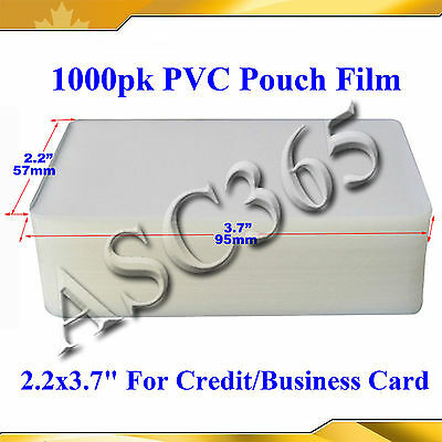 """1000Sheets PVC Pouch Laminating Film 2.2x3.7""""5Mil For Credit Card"""